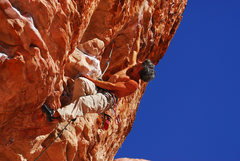 Rock Climbing Photo: Sending 5.12 in Red Rocks,  Sunny and Steep Wall.