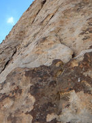 Rock Climbing Photo: Pitch 3 goes up and left past the bolt, follows th...