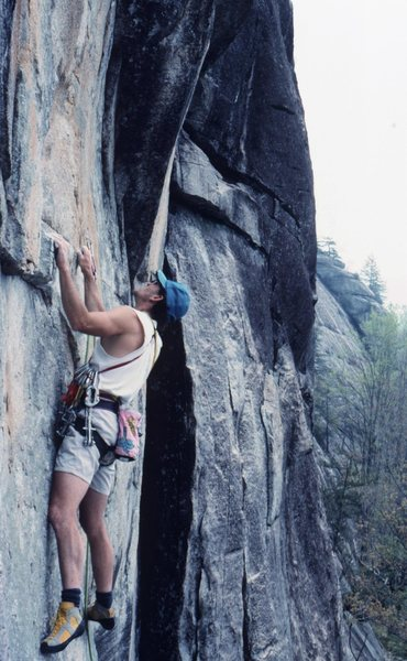 Rock Climbing Photo: Jeep Gaskin working on Danger Dog 4-88.This was po...