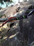 Rock Climbing Photo: Start of fourth pitch. Protect with nuts at the st...