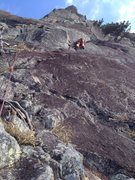 Rock Climbing Photo: Moving up 4th pitch. Note the 5.8 off width on the...