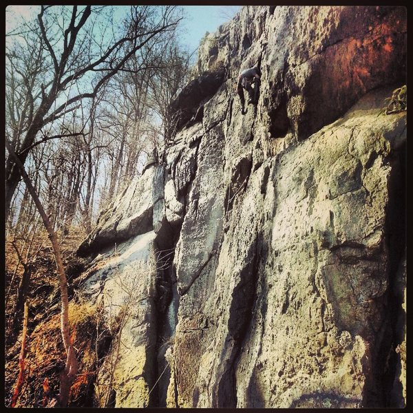 Rock Climbing Photo: My first lead on vertical