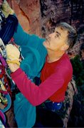 Rock Climbing Photo: Blair 'Charlie' Rich on Spaceshot, Zion's, Oct '98...