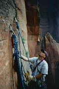 Rock Climbing Photo: Jason Jones on an ascent of Sheer Lunacy in Zion&#...
