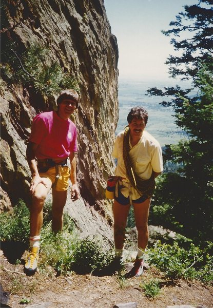 Rock Climbing Photo: Bret Ruckman and I in the Flatirons, Boulder  1986...