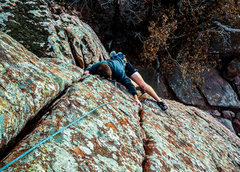 Rock Climbing Photo: Nate working the moves through the odd roof crux o...