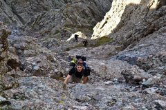 Rock Climbing Photo: Scrambling up Crestone Needle
