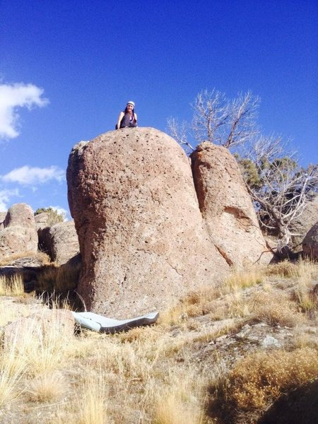 my wife on top of the same boulder above.