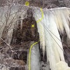 Looking at the route after rapping off the top.  You can kinda see where I crawled around onto the free hanging ice.