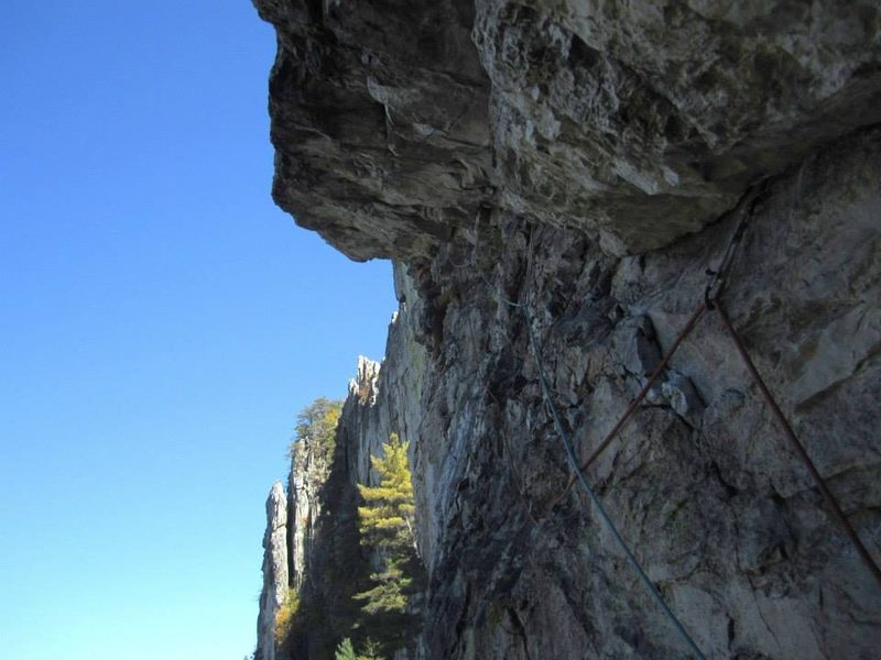 Rock Climbing Photo: A little farther along on P2. Trying to blend in.