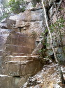 Rock Climbing Photo: Bouldery scramble to get to the squeeze ledge. It ...