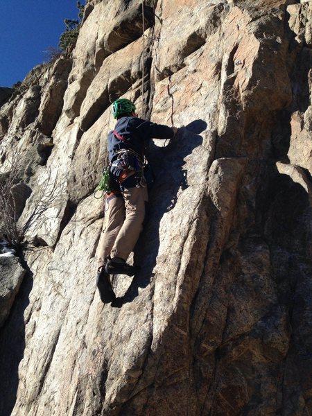 Rock Climbing Photo: Ross heading up.