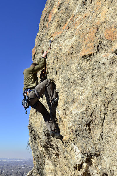 Rock Climbing Photo: Past the crux on the FA
