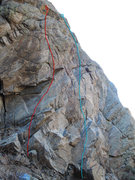 Rock Climbing Photo: Red route is Handicapable. Blue route is Off the C...