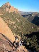 Rock Climbing Photo: Kate following the final pitch on Topo Oceans.  Ra...
