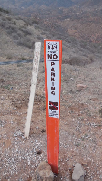 """These """"No Parking"""" signs recently appeared adjacent to the gate at the parking area for Texas Canyon."""
