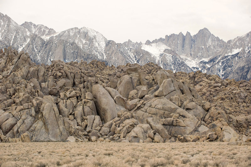 The Tall Wall (lower left corner) with Mt. Whitney in the back.