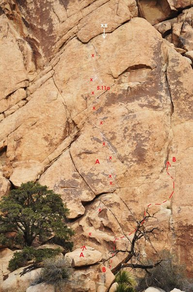 A. LA Woman 5.11a<br> <br> B. Just Another Crack from LA 5.9 R