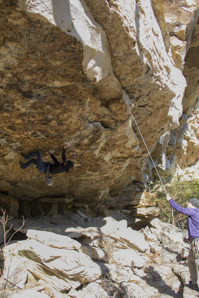Rock Climbing Photo: Clara coming out of the roof before the first bolt...