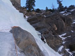Rock Climbing Photo: Tim Coates on the1st pitch of Backoff