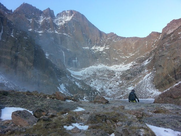 About to cross Chasm Lake's ice.