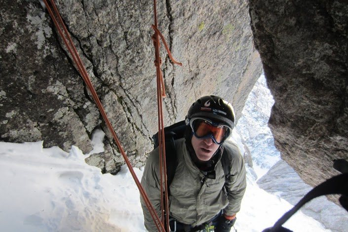 Pretty cold but spectacular position below the crux pitch.  Should have kept the beard for the day.