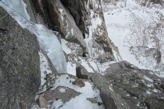 Rock Climbing Photo: Getting up there. Looking down on the crux pitch.