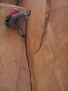 "Rock Climbing Photo: Weston L leading the ""crux"" on P2"