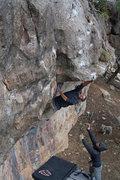 Rock Climbing Photo: JJ Schlick reaching for it... Matt Grecco spotting...