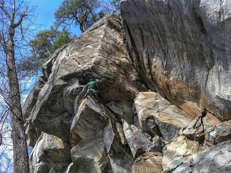 Rock Climbing Photo: matt in the gear placing crux