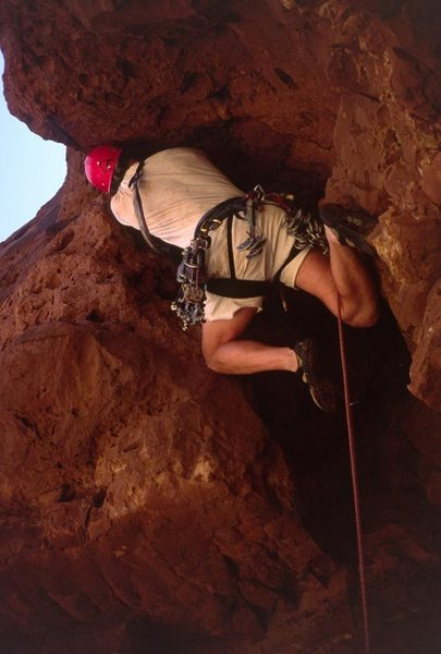 me, leading the roof pitch, first free ascent. Photo by Dave Levine.