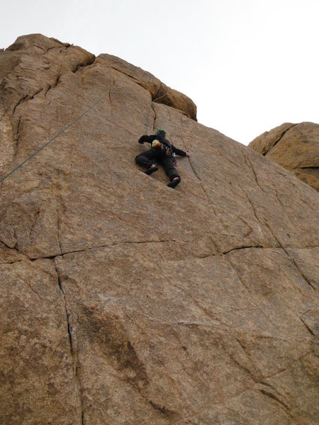 Approaching the crux on Safety Pin