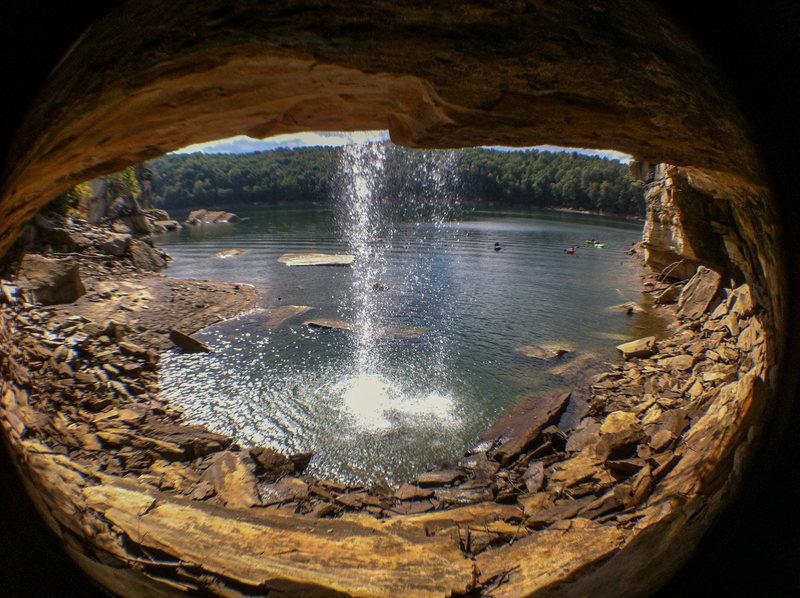 Rock Climbing Photo: Behind the Water Fall