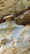 Rock Climbing Photo: Mushroom hold at second bolt.
