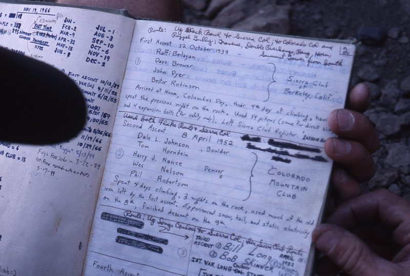 Summit register with 1st ascent & 2nd!<br> Pic taken 2001