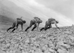 Rock Climbing Photo: Same three women crawling Ben Nevis. Note the high...
