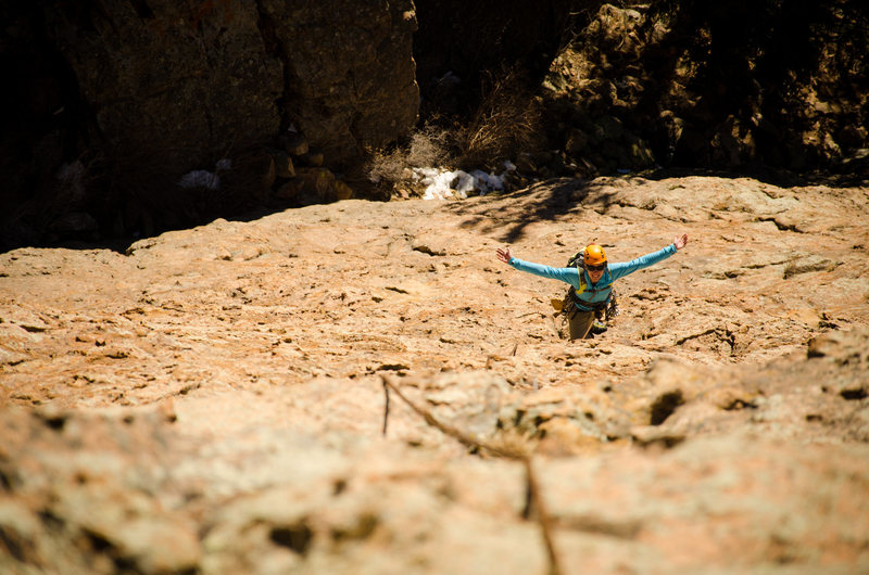 Fun and easy climbing on the first pitch of Chicken Dance.<br> <br> Photo: Andrew Bradberry.