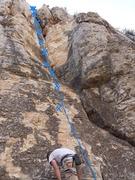 Rock Climbing Photo: Climbs the corner making use of the crack for hold...