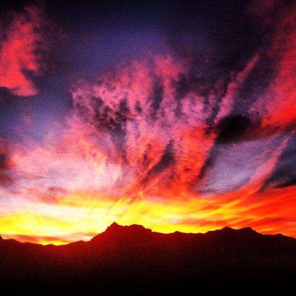 Red Rocks Sunset behind Juniper Peak, 1.25.14