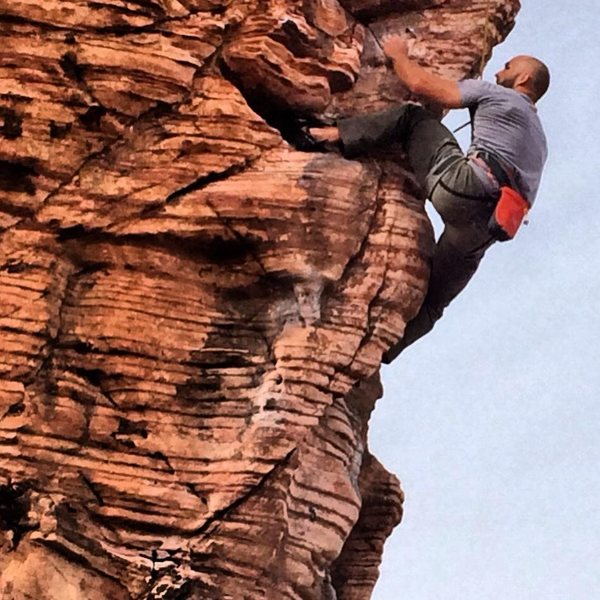 Rock Climbing Photo: Dustin Johnson throwing in a heel hook on Caustic ...