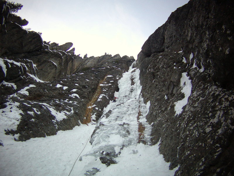 Mike Walley on 1st pitch of the Ribbon.  Ouray, Colorado Sat January 25th 2014