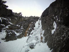 Rock Climbing Photo: Mike Walley on 1st pitch of the Ribbon.  Ouray, Co...