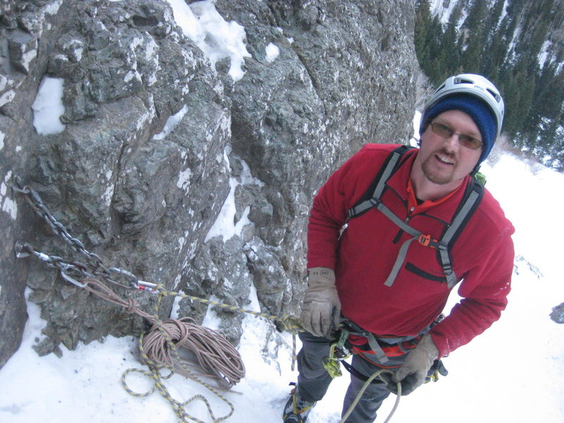 Alan Ream on the Ribbon. Ouray, Colorado Sat January 25th 2014.  Photo by Mike W.