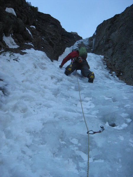 Alan on our second pitch of the Ribbon. Ouray, Colorado Sat January 25th 2014.  Photo by Mike Walley