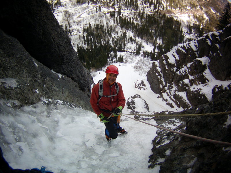 Mike on the way down. The Ribbon. Ouray, Colorado Sat January 25th 2014.  Photo by Alan Ream