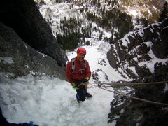 Rock Climbing Photo: Mike on the way down. The Ribbon. Ouray, Colorado ...