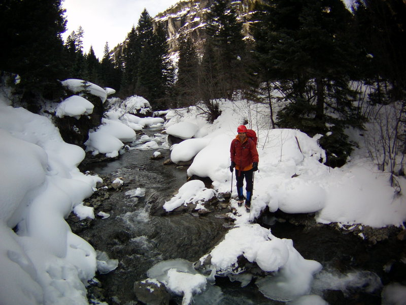 Mike at the creek on the way out from the Ribbon. Ouray, Colorado Sat January 25th 2014.