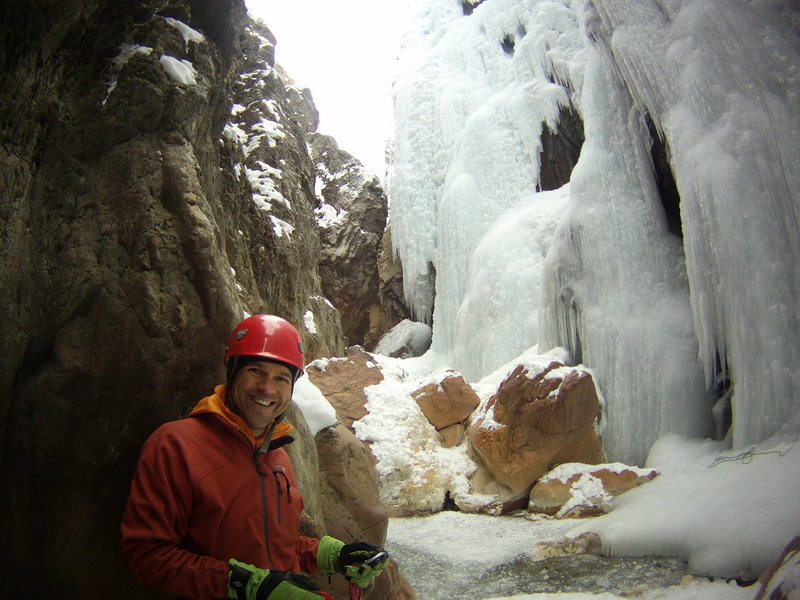 Rock Climbing Photo: Mike Walley - below the upper bridge.  Ouray CO.  ...