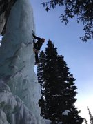 Rock Climbing Photo: Tom climbing delicately up this good pitch of ice....