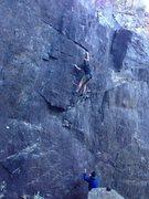 Rock Climbing Photo: LB making it through the crux.